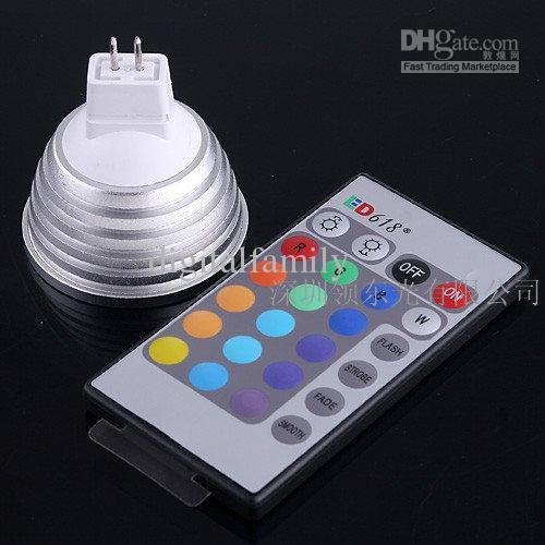 Högkvalitativt dimbar minne LED glödlampa och fjärrkontroll med 16 olika färger RGB 1pCs
