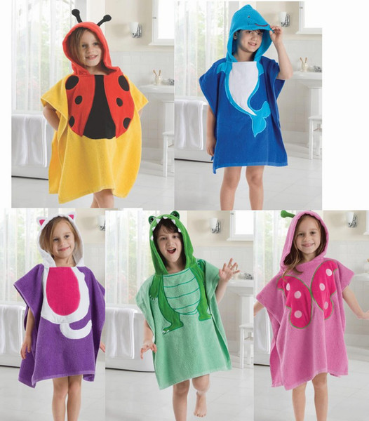 top popular Cute Baby Bathrobe Anmial Style Ladybug Kids Bathing Bath Robe Swimming 5 color L*W=120*60CM 6pc lot 2020