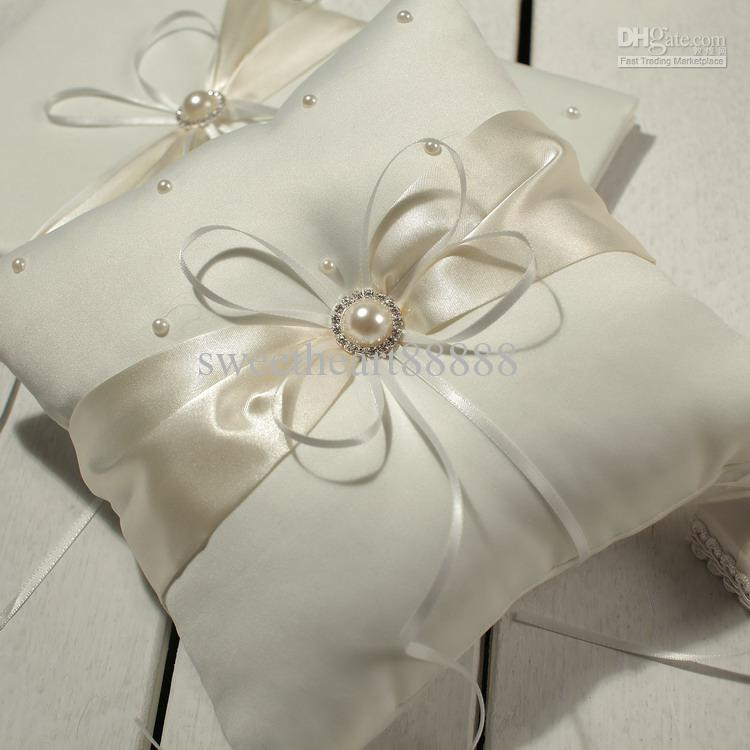 Hot Sell Mic Ivory Ribbon Pearl Wedding Ceremony Satin Ring Bearer Pillow Pillows Flower Baskets From China Seller