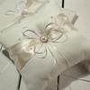Hot sell MIC Ivory Ribbon Pearl Wedding Ceremony Satin Ring Bearer Pillow Ring Pillows & Flower Baskets