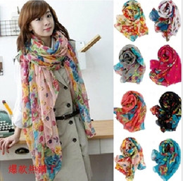 Wholesale Beautiful Shawls - rural broken beautiful Flower long large scarf shawls silk scarves rural broken beautiful scarf For Women