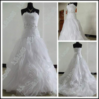 Wholesale Wedding Seller Dresses - Latest Top Sellers! Breathtaking Classic style Strapless Pleated Ruffles Organza Wedding Dresses