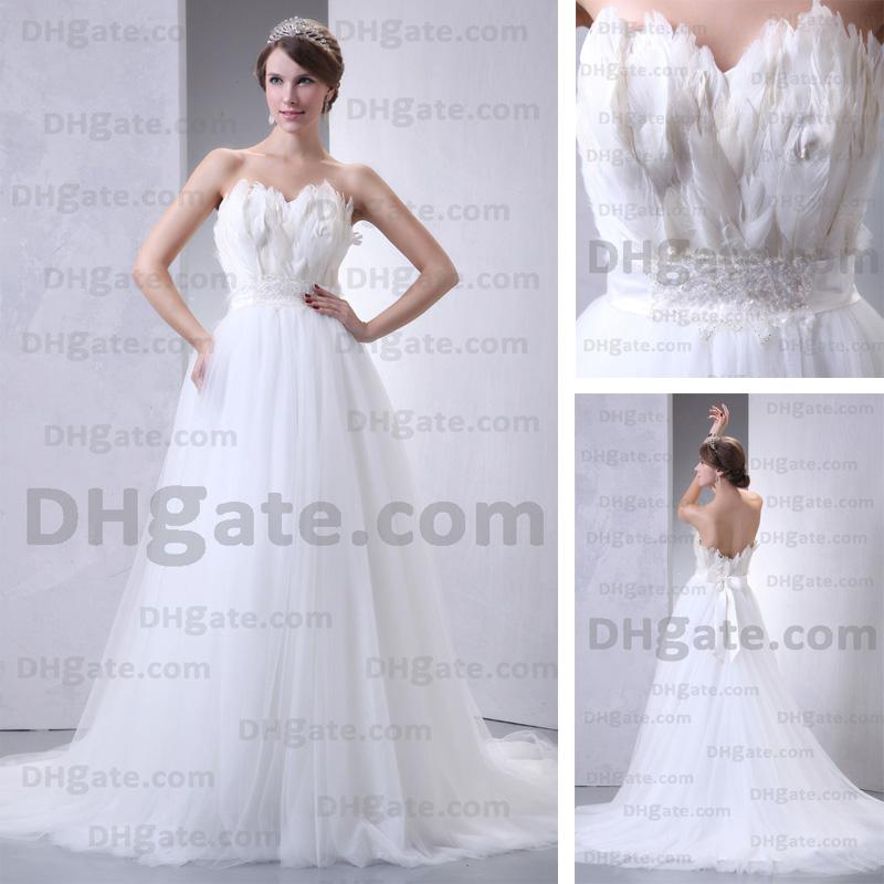 Discount white feather tulle sweetheart wedding dresses a for White feather wedding dress