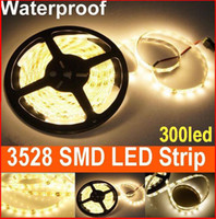 Wholesale Holiday Car Sales - Hot Sales 300leds 5m SMD 3528 LED Strip Light warm White Waterproof led lighting for car Christmas free shipping 20m lot
