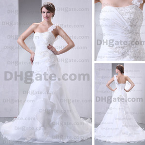 Wholesale 2015 Spring Fashion One Shoulder Wedding Dresses Pleated Corset Appliques Beaded Real Actual Images