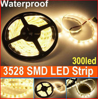 Wholesale led christmas ribbon - 50m 12V warm white SMD 3528 LED Strip Light Waterproof 300 leds LED ribbon Christmas lighting home