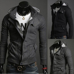 Wholesale Long Fashion Top - 2017 Fashion Men Jackets Christmas Outerwear Stylish Slim Fit Hoodie Jacket Cotton Blend Male Top 4 Sizes Black Grey