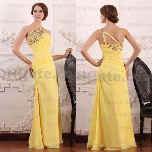 Best Selling!! 2018 A-line Elegant Beaded Full Length Yellow Chiffon Evening Prom Dresses Designer Occasion Dresses PD042