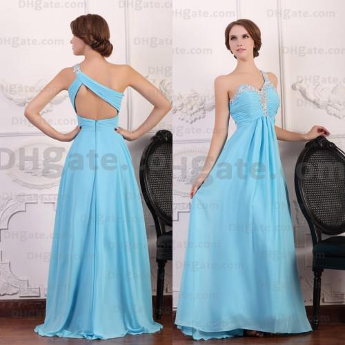 Nova Chegada 2019 Azul Chiffon de Um Ombro de Cristal Vestidos de Noite de Formatura Designer Ocasião Vestidos PD044