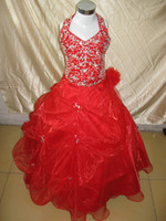 Wholesale Photo Bubbles - 2017 Beautiful red halter Bubble ruffle beaded Sequin full length flower girl dresses children gowns X360
