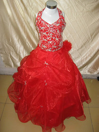 Wholesale Beautiful Girl Photos - 2017 Beautiful red halter Bubble ruffle beaded Sequin full length flower girl dresses children gowns X360