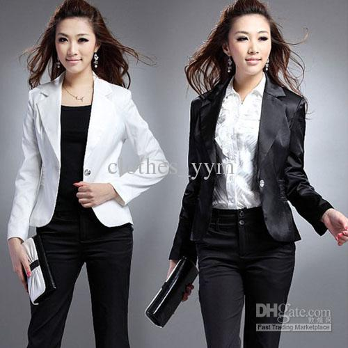 2017 2013 New Arrival Black White Blazer Career Suits One Button ...