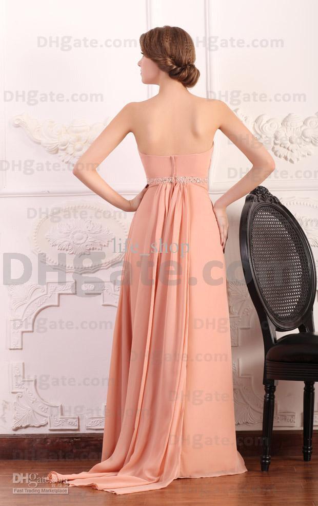 Schatz Brautjungfernkleider Indy Pink A-Linie Sweep Zug Abendkleider Perlen Echte Tatsächliche Bild