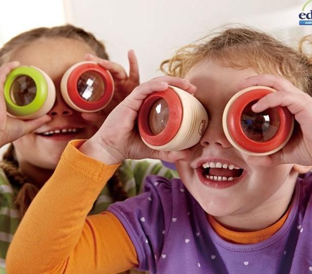 Barnleksaker Gåva Kalejdoskop Leksaker Magic Bee Eyeffekt Prism Observation Trä Kaleidoskop