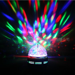 Wholesale E27 3w Colorful Rotating - 2016 E27 3W 110v-220v Colorful Auto Rotating RGB projector Crystal led Stage Light Magic Mini Party Dance Light Bulb for Home Entertainment