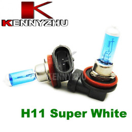 Wholesale H11 Xenon Halogen Bulbs - 2 Pcs Lot H11 12V 55W New Super Auto White Light Bulbs 6000K Car Halogen Xenon Low Beam