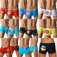 Wholesale Wholesale Man Swimwear Shorts - Men Boy's Boxer Swimwear Swimming Trunks Shorts National Flag Fashion Low Waist Male Beach Clothing