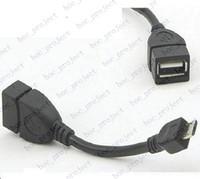 kablo usb mikro b erkek toptan satış-Yeni Mikro USB B Erkek USB 2.0 A Kadın OTG Veri Konak Kablosu-Siyah OTG Kablo 500 adet / grup