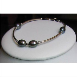 Wholesale Freshwater Lobsters - 2016 Arrive Christmas Gift Jewelry 8inch AA6-7MM Black Genuine Freshwater Pearl Bracelet Classic Gift