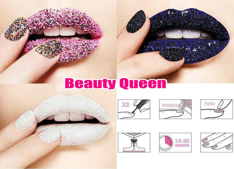 Conjunto de manicura de esmalte de uñas Caviar CIATE Edición limitada de micro cuentas de pintura 3D Rainbow Black White NUEVO