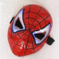 mascara de led para niños al por mayor-Espesar Cosplay Máscara de Spiderman que brilla intensamente con ojos azules LED Maquillaje de juguete para niños Niños