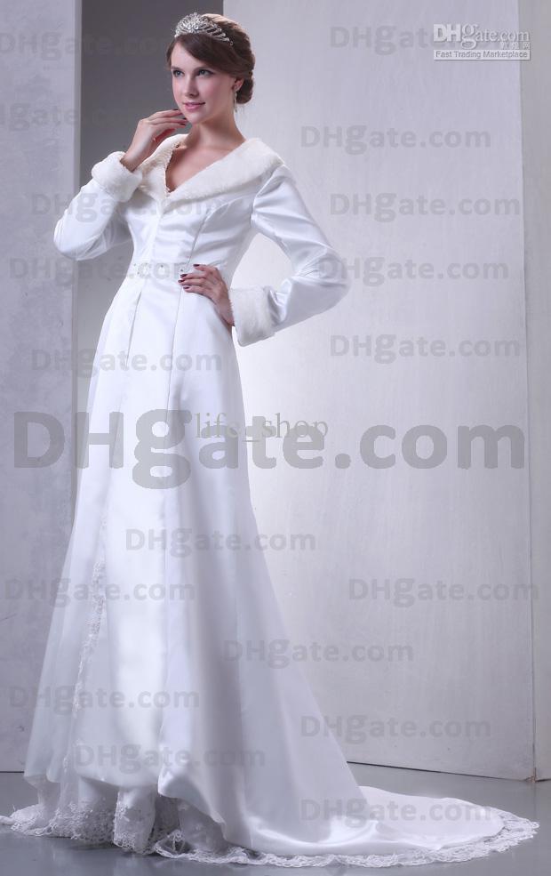 Capas de boda Una línea de satén Chaqueta de novia de lana artificial Mangas largas Tren de barrido Imagen real real