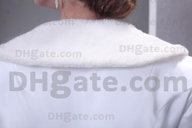 웨딩 클루 코트 A 라인 새틴 인공 양모 브라 재킷 긴팔 스위프 트레인 실제 실제 이미지