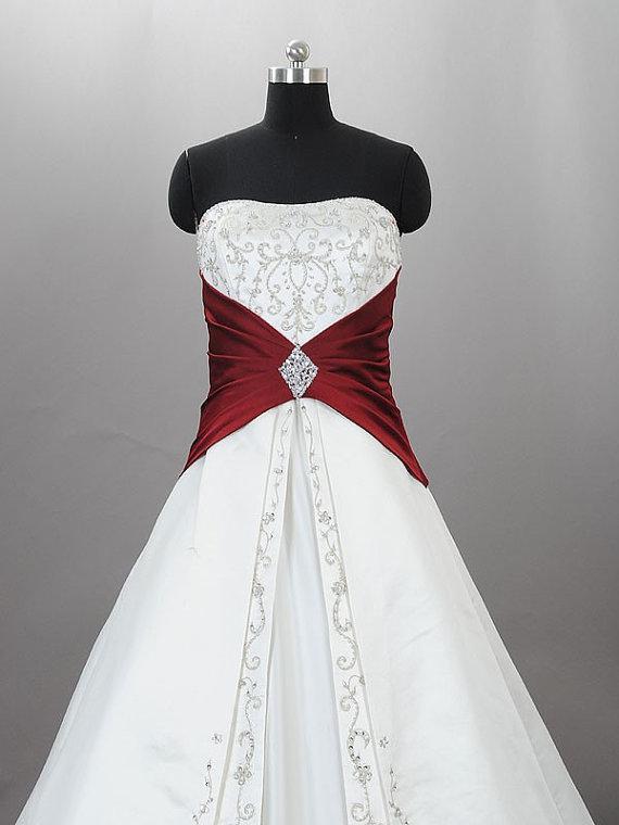 Werkelijk beeld 2012 goedkope trouwjurken wit een lijn strapless rode applique satijnen bruidsjurk