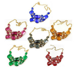 Wholesale golden geometry - Golden Chunky Chain Candy Resin Geometry Drop Pendants Bib Necklace Hot Sale Jewelry