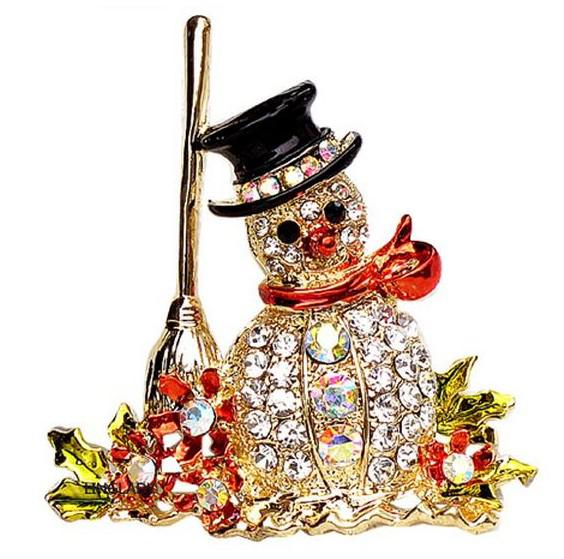 New In Unisex Jewelry Gold Plated Colorful Rhinestone Flower Broom Snowman Pin Brooch Christmas gift / present
