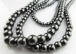 Wholesale Hematite Ring Beads - DIY bracelet necklace ring 200PCS* Hematite tungsten steel stone Tiedan stone beads 6MM 8MM 10MM 12M