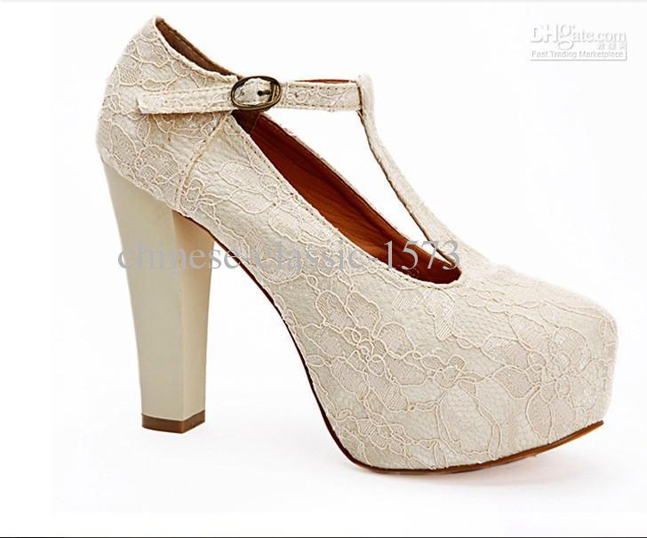 Ivory Wedding Wedge Heels: Ivory Lace Wedding Wedge T Strap Platform Women Waterproof