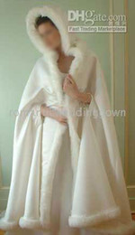 Wholesale Ivory Faux Fur Shawl - white winter Gorgeous hooded wedding dresses for bridal cape(Romanticweddinggown)