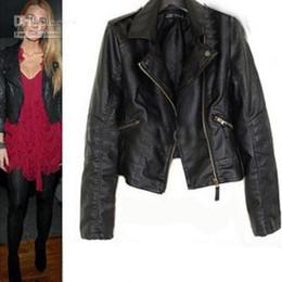 Wholesale Womens Jackets Leather - 2017 new womens jacket black jacket pu leather jackets size S M L fashion jacket asdzxc