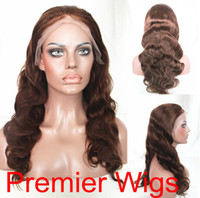 "Wholesale Long Half Wig Human Hair - Celeb Fashion 8""-24"" Body Wave Medium Brown 4# Indian Remy 100 Human Hair Lace Front Wigs"