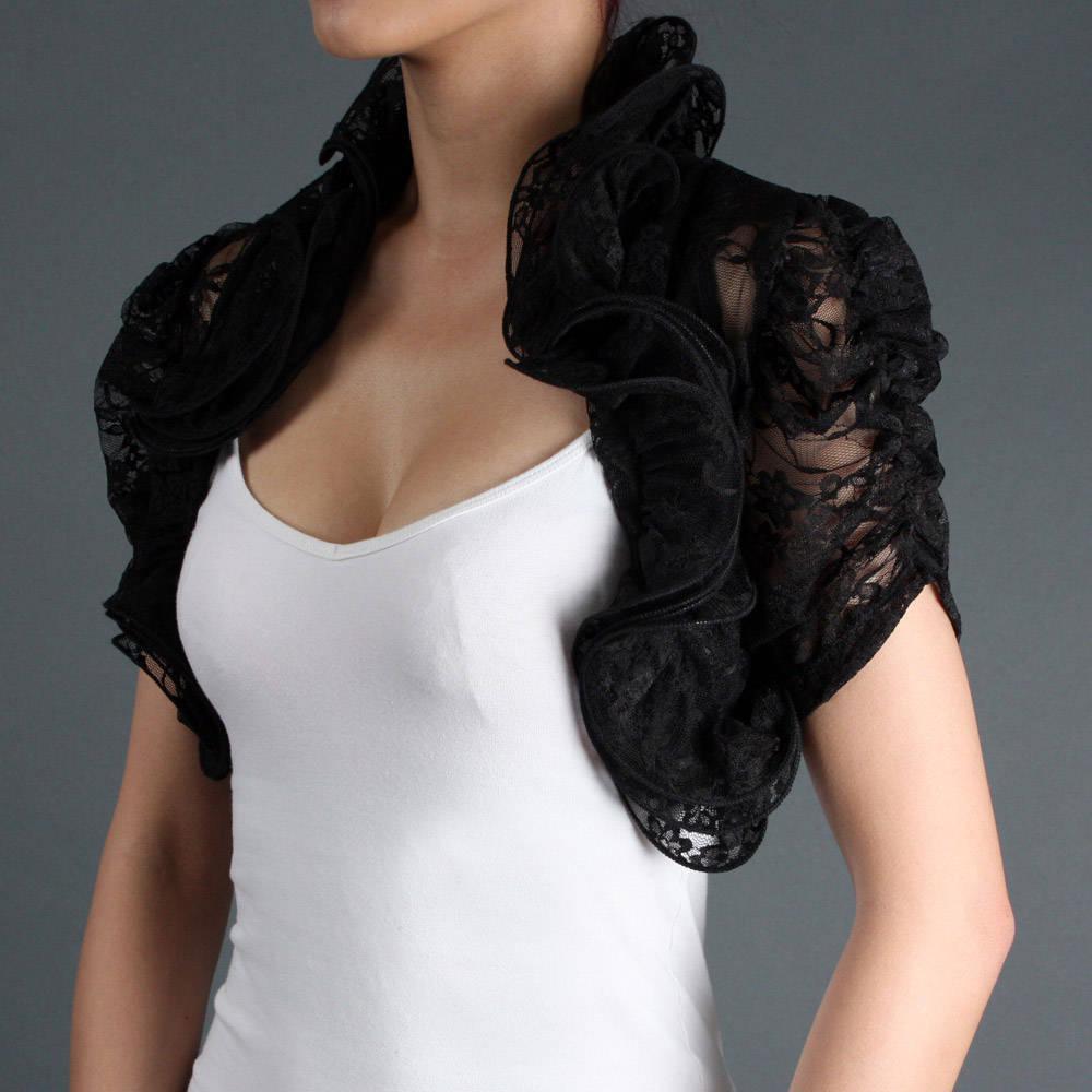 2017 Black Lace Short Sleeves Bolero Bridal Jacket Stole Cape ...