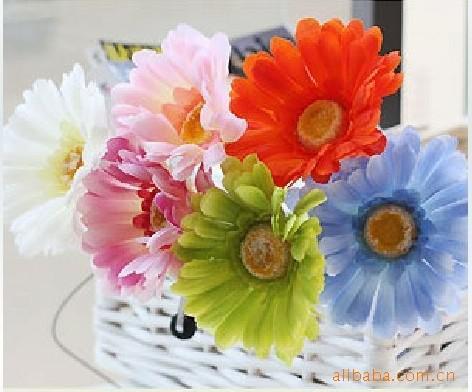 cores Misturadas Margarida Flor De Seda Artificial Para O Casamento Bouquet De Noiva Decoração Artesanato 4.3