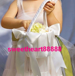 Wholesale Satin Flower Girl Baskets - MIC New White Big Bow Wedding Ceremony Satin Flower Girl Basket Wedding Supplies Ring Pillows & Flower Baskets