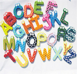 Wholesale letters wooden fridge - Free shipping Fridge Magnets letter novelty Wooden cartoon Fridge Magnets Children's Education DIY