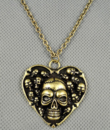 $enCountryForm.capitalKeyWord Canada - Vintage Style Bronze Skull Head Heart Shape Pendant Necklace Unisex Jewelry