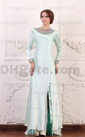 Wholesale White Collar Suit Designer - Custom Made Modest Evening Gown 2018 Long Sleeves Beaded Modest Mother Of Bride Dresses MD004
