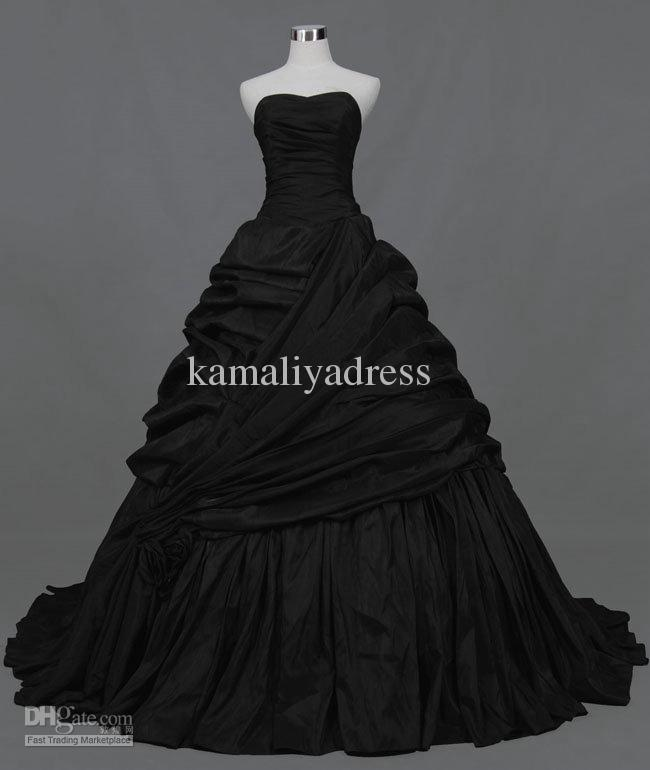 Stylish Customized A-Line Strapless Ruffles Beads Black Taffeta Wedding Dresses Bridal Gowns