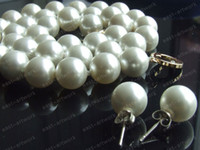 "Wholesale South Sea Pearls Strands Round - 19"" 10mm Round White South Sea Shell Pearls Necklace & Earrings Free Shipping"