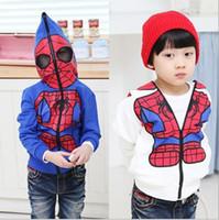 Wholesale Spiderman Sweatshirt - Baby Boy Spiderman Coat Hoodies Sweatshirts Children's Clothing