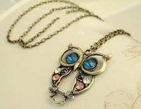 Wholesale Owl Retro Long Chain - Fashion Owl Necklace Retro Long Chain Necklaces Ornament Accessories Diamond Owl necklace 20pcs lot