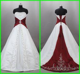 Фактическое Изображение 2012 Дешевые Свадебные Платья Белый Линия Без Бретелек Красный Аппликация Атласное Свадебное Платье от
