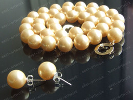 """Wholesale Shell Pearl Strands - Elegant 19"""" 10mm Round Gold Yellow South Sea Shell Pearls Necklace & Earrings Free Shipping"""