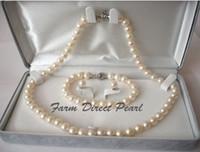 9mm runde perle großhandel-Perlenschmuck echte Runde 8-9mm weiße Perlenkette 3pc SET 19