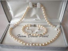 "Echte perlenschmucksachen online-Perlenschmuck echte Runde 8-9mm weiße Perlenkette 3pc SET 19 ""925 Silber Verschluss"