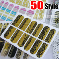 Wholesale Leopard Nail Decals - 50Style Nail Wraps Decal Decals Crystal Nail Art Sticker Glitter Bling Foil Patch Wraps Lace Leopard Design Polish Adhesive Appliques NEW